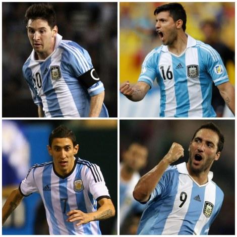 Juntos na temporada pré-Copa, os quatro craques argentinos marcaram 73 gols (Foto: Gabriel Priko, MCFC, Uol e Alessandro Bianchi)