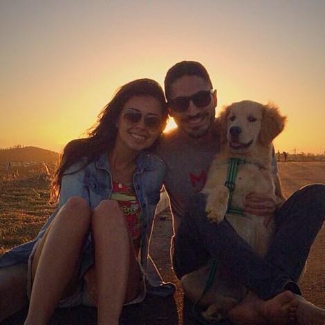 Daniela Ananias, com o namorado Diego Dias e Bartô