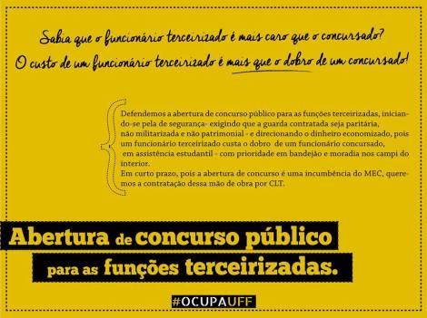 Campanha da greve na UFF sobre a pauta estudantil da desterceirização
