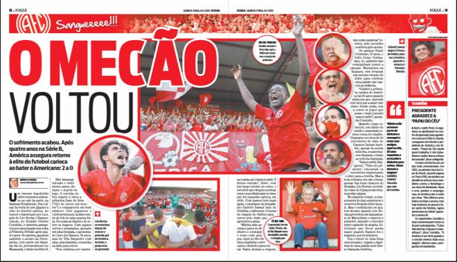 Matéria do Jornal O Dia sobre a volta do America à Série A do Carioca